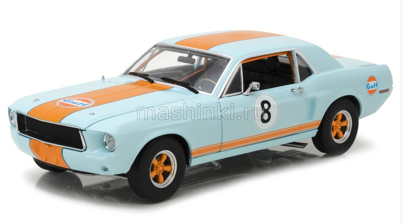 12989 14+ GREENLIGHT GREENLIGHT 1/18 FORD Mustang Coupe GULF OIL 1967 light blue with orange stripes