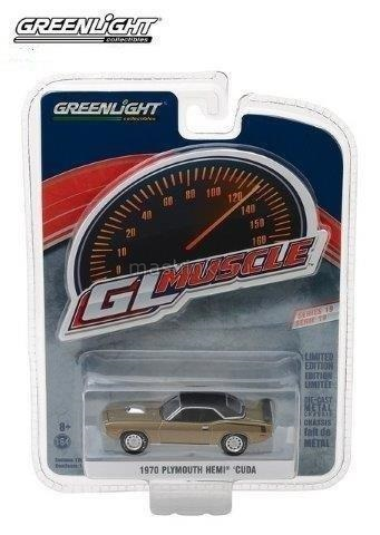 13190B 14+ GREENLIGHT GREENLIGHT 1/64 PLYMOUTH Cuda HEMI 1970 citron gold