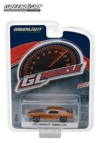 13190D 14+ GREENLIGHT GREENLIGHT 1/64 CHEVROLET Camaro Z28 1972 Mojave Gold