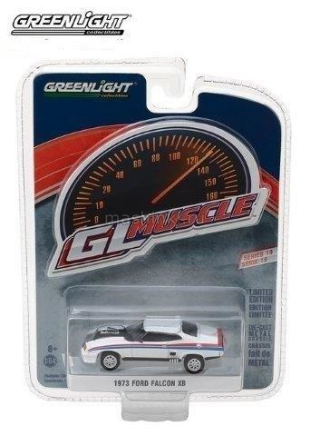 13190E 14+ GREENLIGHT GREENLIGHT 1/64 FORD Falcon XB Custom 1973 white with red/blue stripes