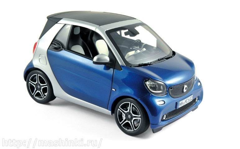 183438 NOREV NOREV 1/18 SMART Fortwo Cabrio (А453) 2015 blue/silver