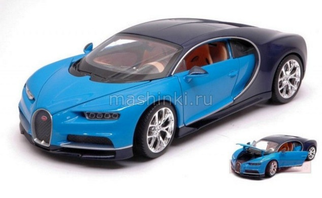 24077BL 03+ WELLY WELLY 1/24 BUGATTI Chiron 2016 blue/light blue