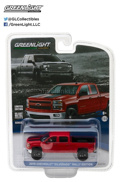27875C 14+ GREENLIGHT GREENLIGHT 1/64 CHEVROLET Silverado Rally Edition Victory 2015 red with black stripes