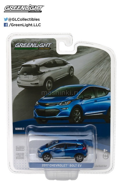 27875D 14+ GREENLIGHT GREENLIGHT 1/64 CHEVROLET Bolt Kinetic 2017 blue metallic