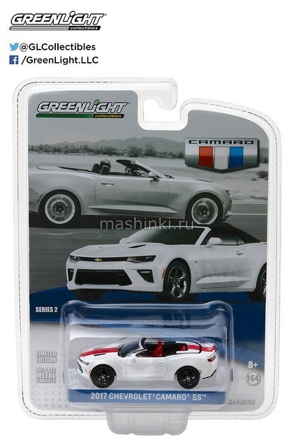 27875F 14+ GREENLIGHT GREENLIGHT 1/64 CHEVROLET Camaro SS Convertible 2017 white with red stripe