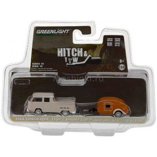 32100A 14+ GREENLIGHT GREENLIGHT 1/64 VW T2 Double Cab пикап с прицепом-кемпером Tear Drop 1968