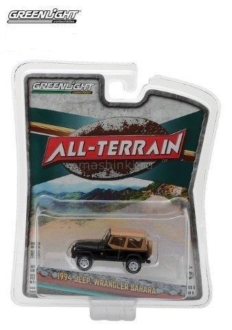 35070D 14+ GREENLIGHT GREENLIGHT 1/64 JEEP Wrangler 4x4 Sahara 1994 black/beige