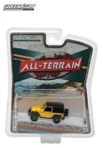 35070F 14+ GREENLIGHT GREENLIGHT 1/64 JEEP Wrangler 4x4 Willys Wheeler 2015 yellow/black