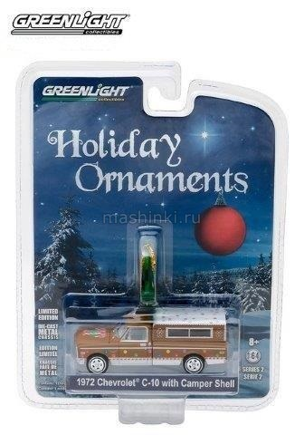 37120D 14+ GREENLIGHT GREENLIGHT 1/64 CHEVROLET C10 with Camper Shell 1972 Brown/White