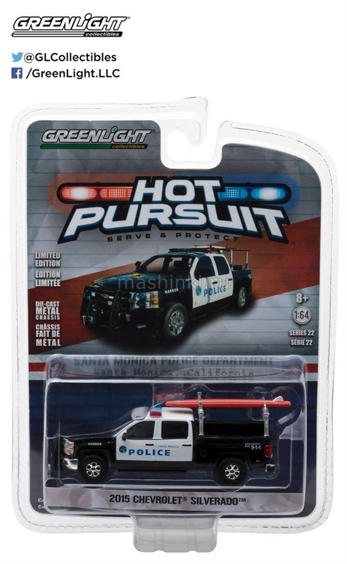 42790C 14+ GREENLIGHT GREENLIGHT 1/64 CHEVROLET Silverado Santa Monica California Police 2015