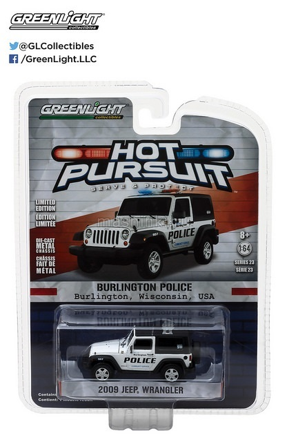 42800D 14+ GREENLIGHT GREENLIGHT 1/64 JEEP Wrangler 4х4 Burlington Wisconsin Police 2009