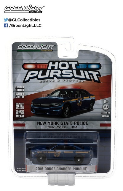 42800E 14+ GREENLIGHT GREENLIGHT 1/64 DODGE Charger Pursuit New York State Police 2016