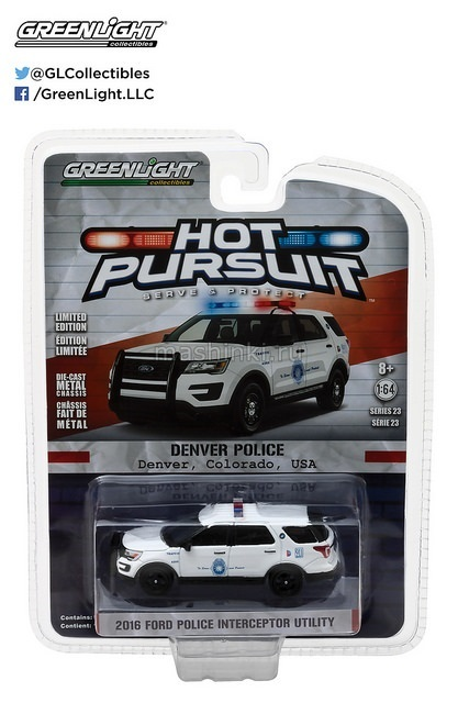42800F 14+ GREENLIGHT GREENLIGHT 1/64 FORD Explorer Interceptor Utility Denver Colorado  Police 2016