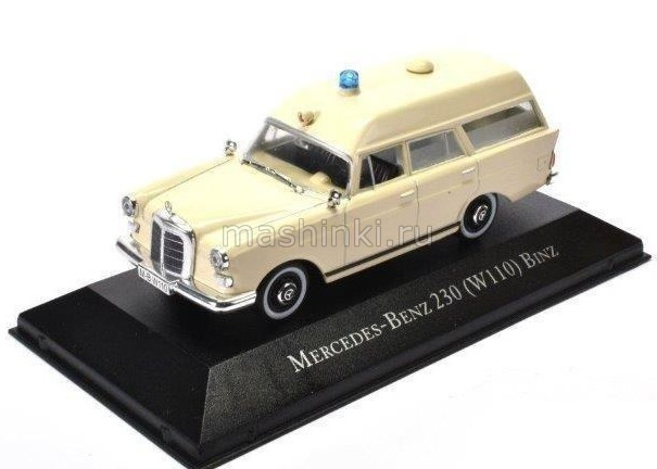 7495001 14+ ATLAS ATLAS 1/43 MERCEDES-BENZ 230 (W110) BINZ Ambulance (медицинская помощь) 1967 beige