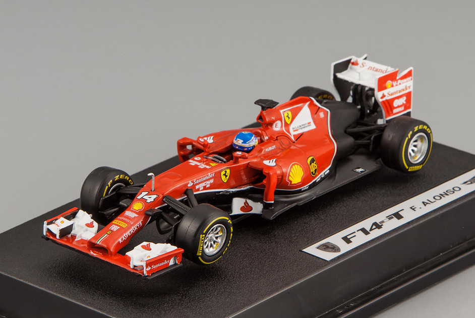 BLY69 MATTEL HOT WHEELS ELITE FERRARI F1 2014 F14 T #14 Alonso with driver