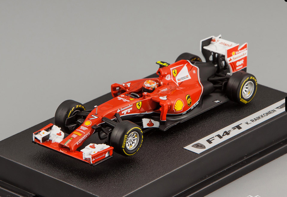 BLY70 MATTEL HOT WHEELS ELITE FERRARI F1 2014 F14 T #7 Raikkonen with driver