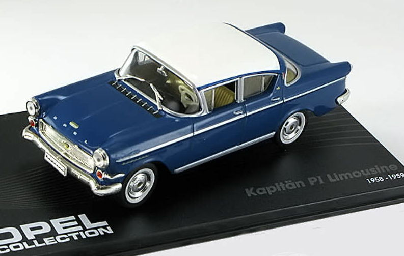 OC03 IXO OPEL COLLECTION OPEL Kapitan P1 Limousine 1958-1959 blue-white
