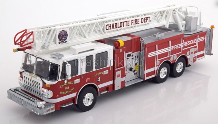 TRF001 14+ IXO IXO 1/43 SMEAL Spartan Gladiator 105' RM Ladder Charlotte Fire Department (пожарная лестница) 2014 red/white