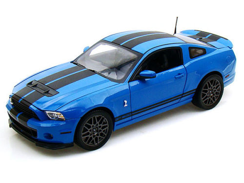 gt500-K- SHELBY COLLECTIBLES FORD SHELBY GT 500 GRABBER BLUE WITH BLACK STRIPE-2013